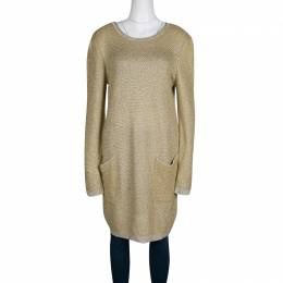 See By Chloe Mustard Yellow and Gold Long Sleeve Chunky Sweater Dress XL 133811