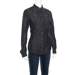 Just Cavalli Indigo Dark Wash Studded Denim Shirt S 161165