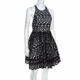 Alice + Olivia Black Guipure Lace Angular Racer Back Mariel Dress S 164535