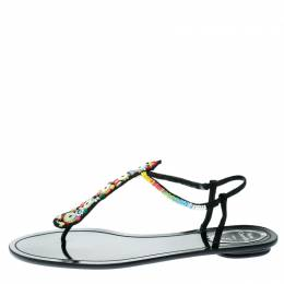 Rene Caovilla Black Satin Beads Embellished Flat Thong Sandals Size 41 177731