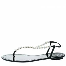 Rene Caovilla Faux Pearl Embellished Flat Thong Sandals Size 41 177733