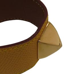 Hermes Yellow Courchevel Leather Medor Bracelet 197457
