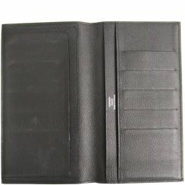 Hermes Charcoal Gray Swift Leather Citizen Twill Long Combined Wallet 197455