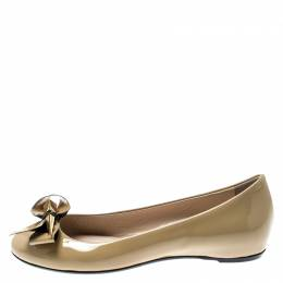 Loriblu Beige Patent Leather Bow Pin Detail Ballet Flats Size 37 197704