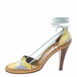 Chanel Multicolor Printed Fabric Ankle Wrap Sandals Size 39.5 155878