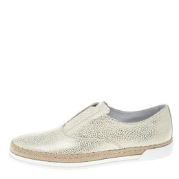 Tod's Cream Textured Leather Francesina Espadrille Slip On Sneakers Size 39.5 152505