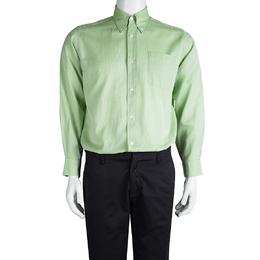 Hermes Light Green Cotton Textured Long Sleeve Button Down Shirt L 86721
