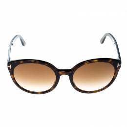 Tom Ford Dark Havana/Brown Gradient Philippa TF503 Round Sunglasses 161734