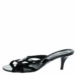 Celine Black Patent Leather And Fabric Sandals Size 38.5 181984
