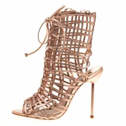 Sophia Webster Metallic Rose Gold Leather Delphine Peep Toe Cage Sandals Size 35.5 183775