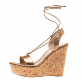 Gianvito Rossi Metallic Gold Leather Ankle Wrap Cork Wedge Sandals Size 40 184125