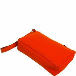 Hermes Orange Canvad and Leather Pouch Bag 198184