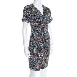 Diane Von Furstenberg Black Geometric Print Silk Jersey Arely Wrap Dress S 197877