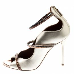 Malone Souliers By Roy Luwolt Metallic Gold And Python Leather Mika Triple Band Peep Toe Pumps Size 39 198119