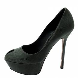 Sergio Rossi Green Textured Suede Leather Cut Out Platform Pumps Size 35 201367