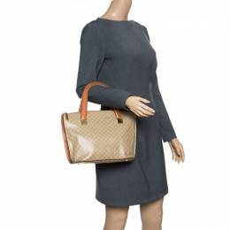 Celine Beige/Brown Coated Canvas and Leather Macadam Zip Tote 156628