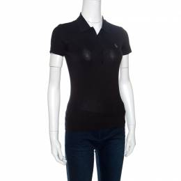 Ralph Lauren Grey Stretch Rib Knit Logo Embroidered Fitted Polo T-Shirt XS