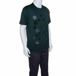 Z Zegna Green Pentagon Flock Printed Short Sleeve T-Shirt XL 144987