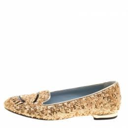 Chiara Ferragni Gold Sequins Flirting Smoking Slippers Size 35 137888
