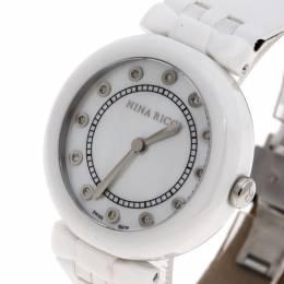 Nina Ricci White Mother of Pearl and Diamonds Ceramic N054004SM Women's Wristwatch 38 mm 134575