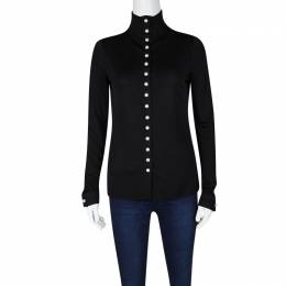 Chanel Pearl Embellished Button Detail Long Sleeve Blouse M 120568