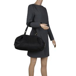 Celine Black Pebbled Leather Triple Zip Satchel 115091