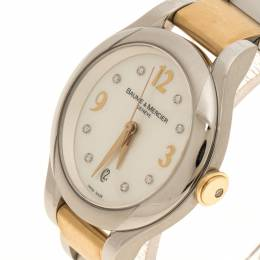 Baume& Mercier White Mother of Pearl Yellow Gold Capped Stainless Steel Women's Wristwatch 30 mm Baume&Mercier 116853