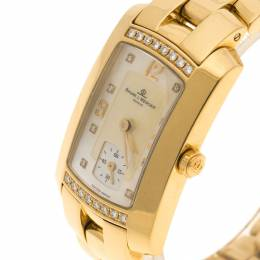 Baume and Mercier Mother of Pearl 18K Yellow Gold and Diamond Hampton Milleis Women's Wristwatch 22 mm Baume&Mercier 109316