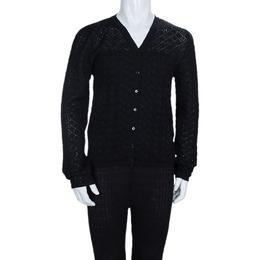 Dior Black Wool Perforated Diamond Pattern Buttondown Cardigan 10 Yrs 66856