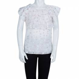 Dior White Mesh Multicolor Polka-Dot Embroidered Top 10 Yrs 66905