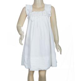 Scervino Street Girls White Rosette Detail Linen Dress 6 Yrs Ermanno Scervino