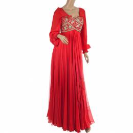 Marchesa Embellished Empire Waist Gown S 24094