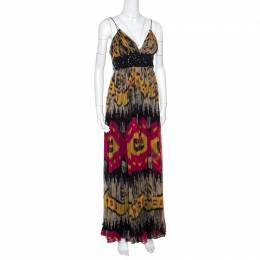 Marchesa Notte Multicolor Ikkat Printed Silk Embellished Sleeveless Maxi Gown S 160819
