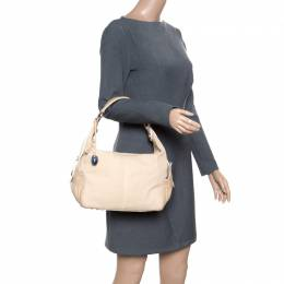 Tod's Beige Canvas and Leather Hobo 165817
