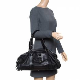 Celine Black Leather Logo Embellished Satchel 165588