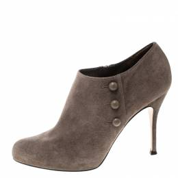 Gianvito Rossi Beige Suede Button Detail Booties Size 39 167191