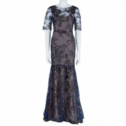 Marchesa Notte Tiered Flower Appliqué Gown M 42429