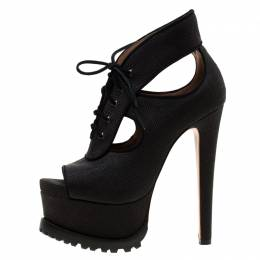 Alaia Black Canvas Cut Out Lace Up Platform Booties Size 38.5 182689