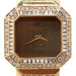 Baume& Mercier Brown 18K Yellow Gold Diamond Women's Wristwatch 26MM Baume&Mercier 199046