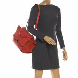 Celine Red Leather and Suede Medium Trapeze Tote 198839