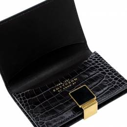 Smythson Dark Grey Croc Embossed Leather Card Holder 143432