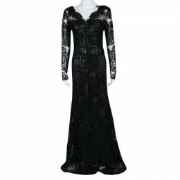 Marchesa Notte Black Floral Applique Detail Embellished Embroidered Tulle Gown M 139973