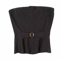 Dolce&Gabbana Dark Grey Herringbone Wool Button Front Corset S