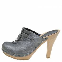 Dior Grey Metallic Cannage Stitched Leather Platform Clogs Size 36.5 83111