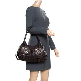 Sonia Rykiel Dark Brown Leather Studded Satchel 166406