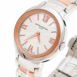 Baume& Mercier Silver White Stainless Steel And Rose Gold Plated Steel Promesse 65753 Women's Wristwatch 30 mm Baume&Mercier 175