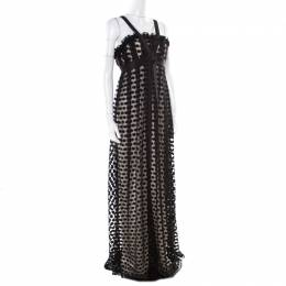 Marchesa Notte Black Polka Dotted Tulle Bow Detail Gown M 175003