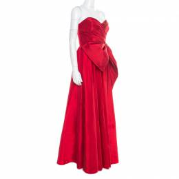 Marchesa Notte Red Embellished Trim Bow detail Strapless Gown M 176650