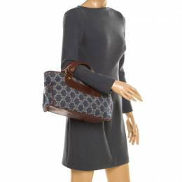 Celine Blue/Brown Macadam Denim and Leather Boogie Tote 194353