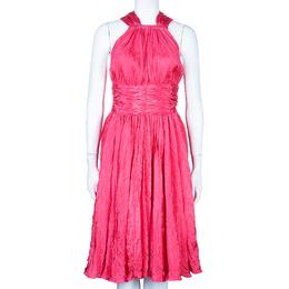Oscar De La Renta Azalea Pink Crushed Silk Dress L 47917